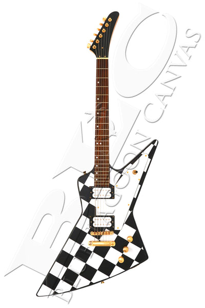 Checkers Rock Guitar Canvas Print
