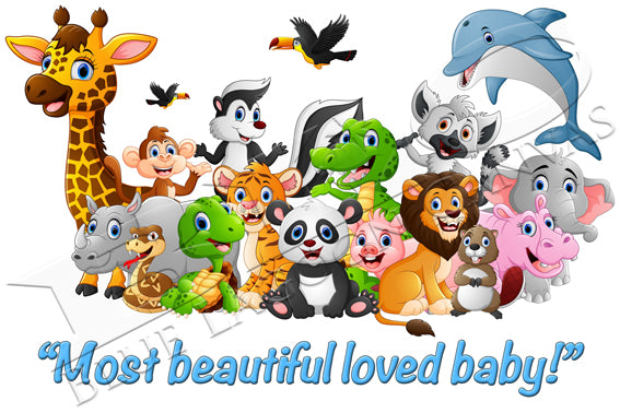 MOST BEAUTIFUL LOVED BABY! Canvas Print (Blue Text)