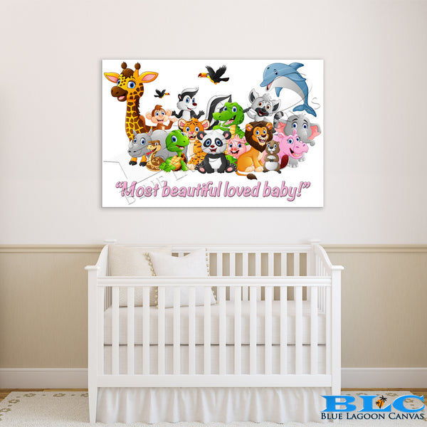 MOST BEAUTIFUL LOVED BABY! Canvas Print (Pink Text)