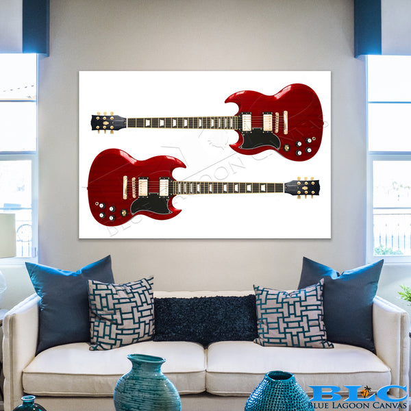 Red Rock Guitar Canvas Print