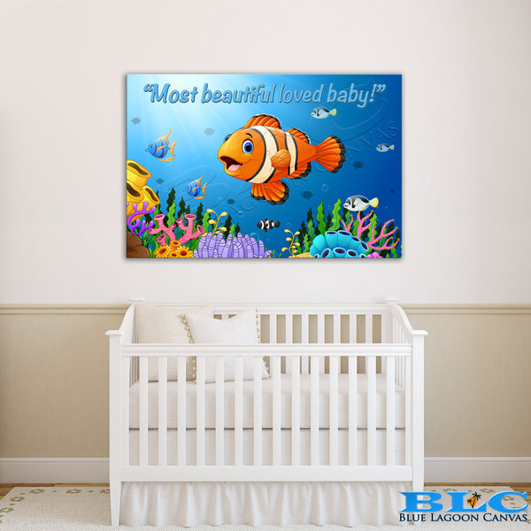 MOST BEAUTIFUL LOVED BABY! UW Canvas Print (Blue Text)