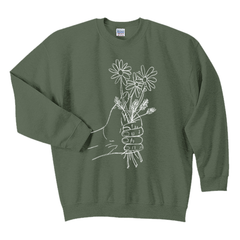 A HANDFUL OF FLOWERS GREEN CREWNECK SWEATSHIRT