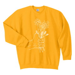 A HANDFUL OF FLOWERS YELLOW CREWNECK SWEATSHIRT
