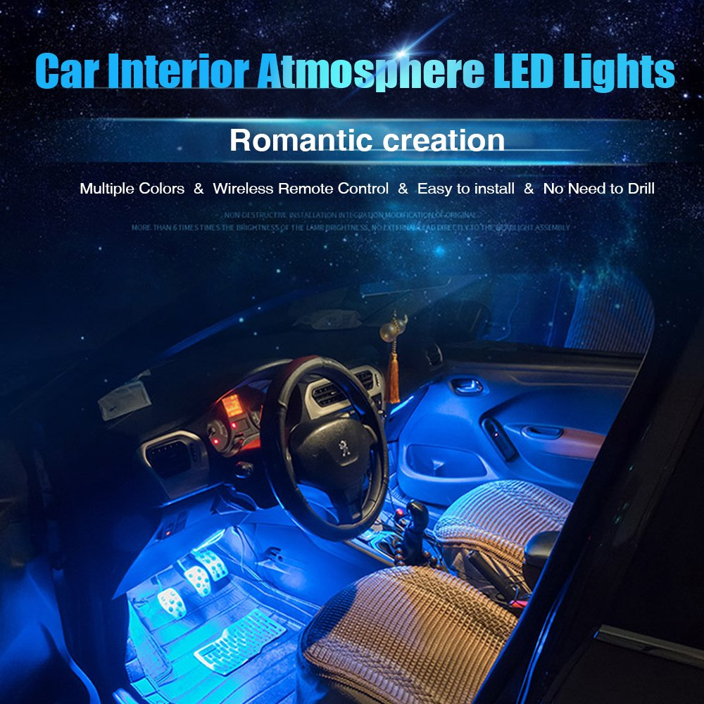 Multi-colorCar LED Strip Light, 4pcs 48 Car Interior Lights Under Dash  Lighting Waterproof Kit with Multi-Mode Change and Wireless Remote Control