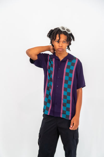 Lazy Oaf Men's Check Stripe Short Sleeve Shirt