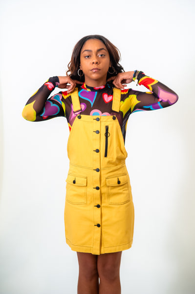 Lazy Oaf Yellow Pinafore Dress
