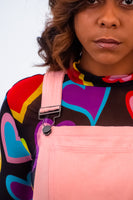 Lazy Oaf Overalls Pink Wide Leg Dungarees