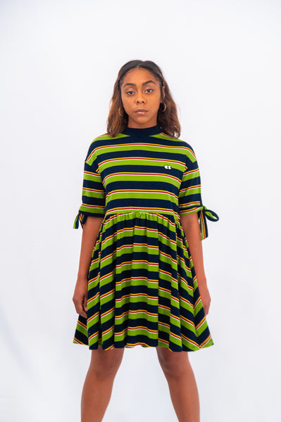 Lazy Oaf Bow Sleeve Stripy Dress