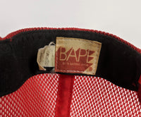 A Bathing Ape Red Bape Camo Trucker Hat
