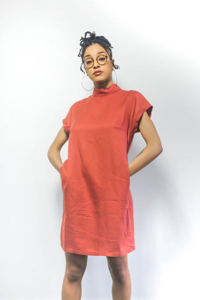 Roamers Funnel Neck Dress Clay