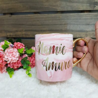 Pink Marble Mug with Gold - The Blossom Gift