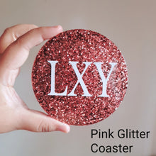 Load image into Gallery viewer, Pink Glitter Personalised Coaster - The Blossom Gift