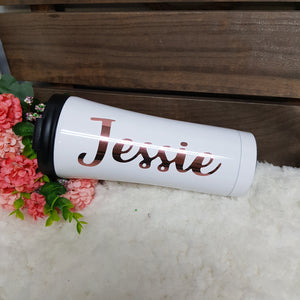 Double Wall Stainless Steel Tumbler - White - The Blossom Gift