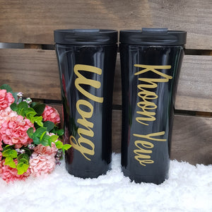 Double Wall Stainless Steel Tumbler - Black - The Blossom Gift