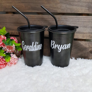 Personalised Stainless Steel Tumbler with Straw - The Blossom Gift