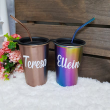 Load image into Gallery viewer, Personalised Stainless Steel Tumbler with Straw - The Blossom Gift