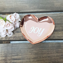 Load image into Gallery viewer, Personalised Heart Shape Gold / Rose Gold Trinket Tray - The Blossom Gift