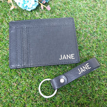 Load image into Gallery viewer, Bundle Set - Card Holder and key chain Black - The Blossom Gift