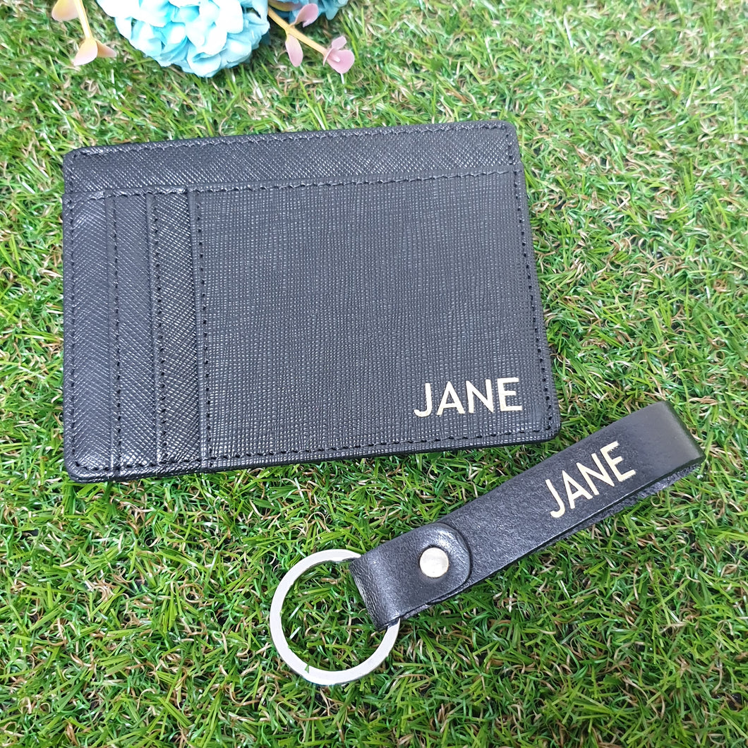 Bundle Set - Card Holder and key chain Black - The Blossom Gift