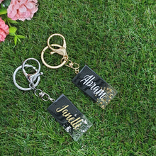 Load image into Gallery viewer, Black w Gold Flakes Key Chain - The Blossom Gift