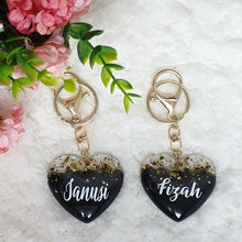 Load image into Gallery viewer, Black Gold x Heart Key Chain - The Blossom Gift