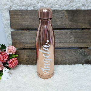 'Bowling Pin' Vacuum Flask Water Bottle - CHROME ROSE GOLD - The Blossom Gift
