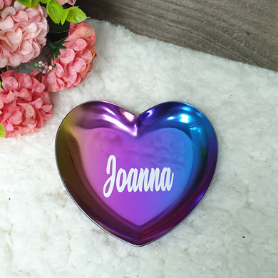 Personalised Heart Shape Trinket Tray (3 colours)