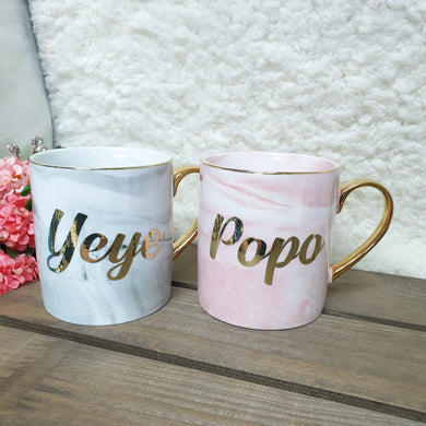 Bundle Set Pink and Grey Marble Mug - The Blossom Gift