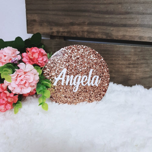 Rose Gold Glitter Personalised  Coaster - The Blossom Gift