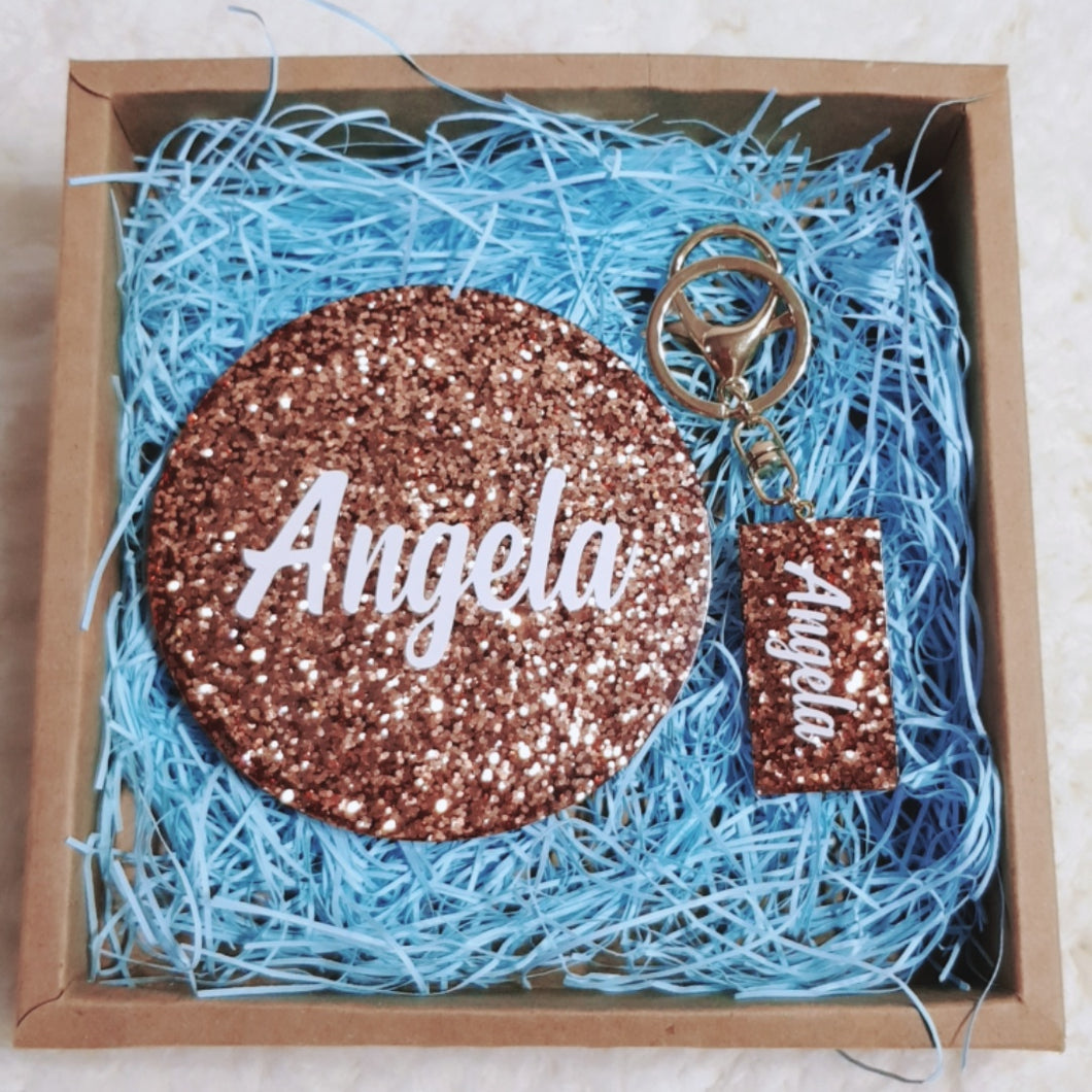 Bundle Set Glitter Personalised Coaster and Key Chain - The Blossom Gift
