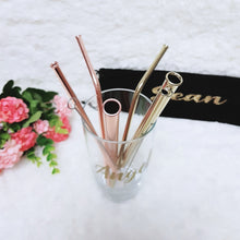 Load image into Gallery viewer, Rose Gold 316 Stainless Steel Straw Set - The Blossom Gift