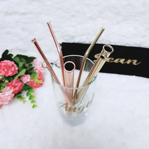 Rose Gold 316 Stainless Steel Straw Set - The Blossom Gift