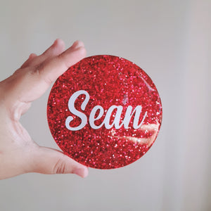 Red Glitter Personalised  Coaster - The Blossom Gift