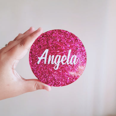 Purple Glitter Personalised Coaster - The Blossom Gift