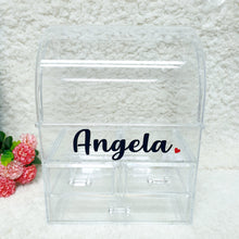 Load image into Gallery viewer, Personalised Clear Makeup Organiser Box - The Blossom Gift