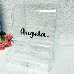 Personalised Clear Makeup Organiser Box - The Blossom Gift