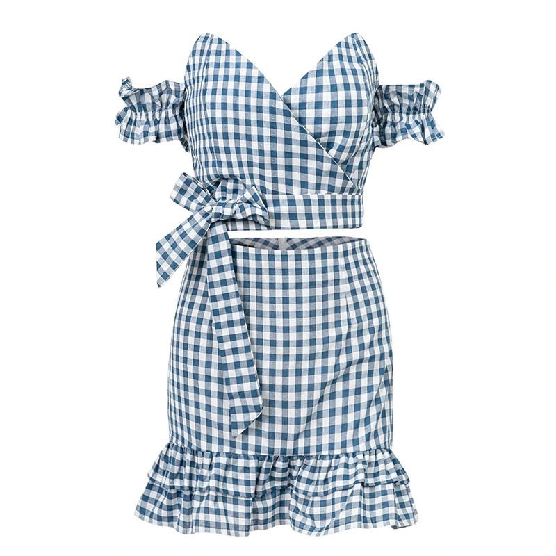 Summer 2 Pieces White Blue Plaid Ruffle Sexy Dress Set