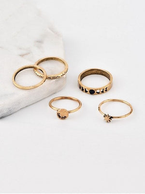 5 Piece Star Finger Ring Set - Gold