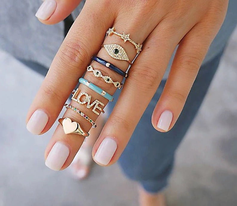 8Pcs/Lot Bohemian Heart Love crystal Punk Party Knuckle Ring