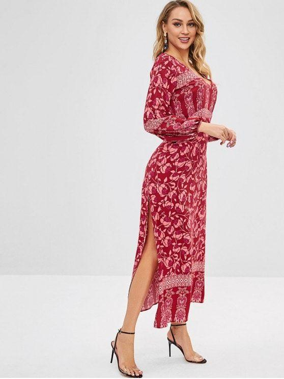 Backless Plunge Floral Maxi Slit Dress