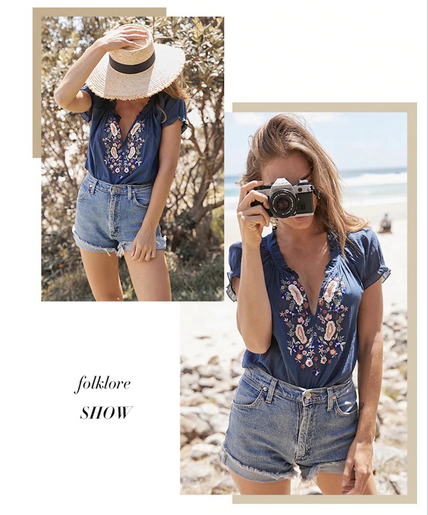 Blue/White Bohemian Embroidery Floral Blouses