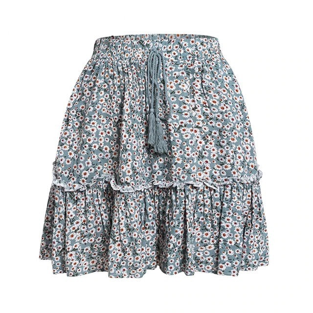 Boho tassel print mini ruffle short skirt