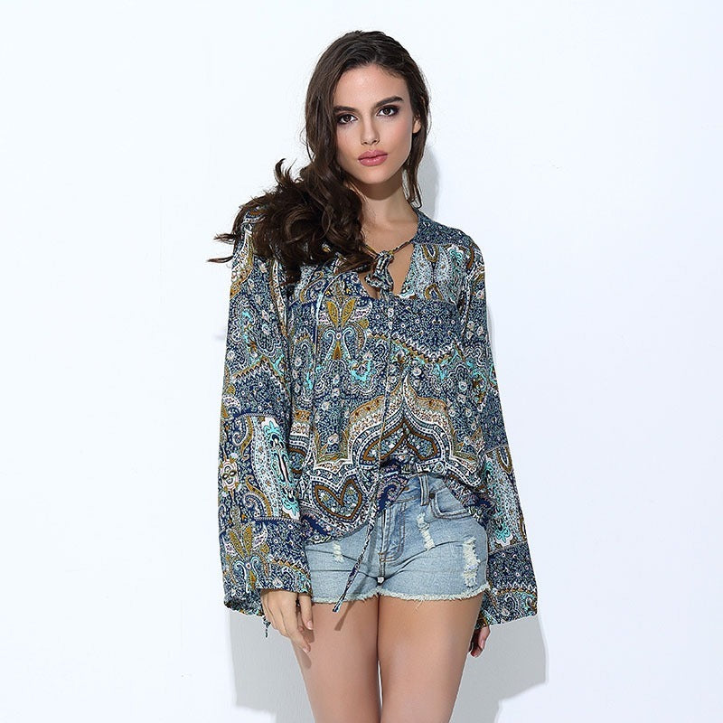 Casual Boho Tropical Floral Print Blouses