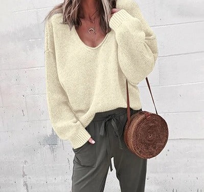 Casual Knitted V Neck Long Sleeve Solid Sweater