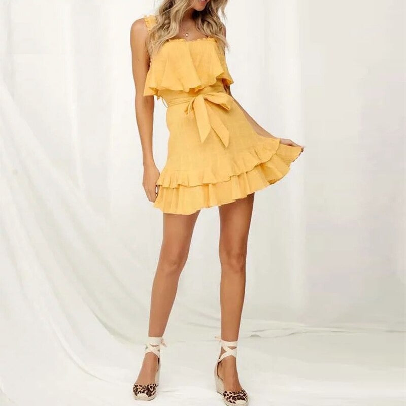 Casual Ruffles Yellow Summer Sleeveless Sexy Square Collar Backless Short Sundress