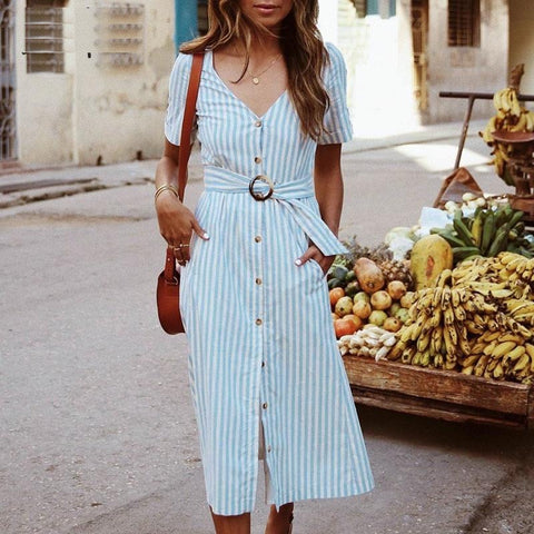 Casual buttons striped summer dress