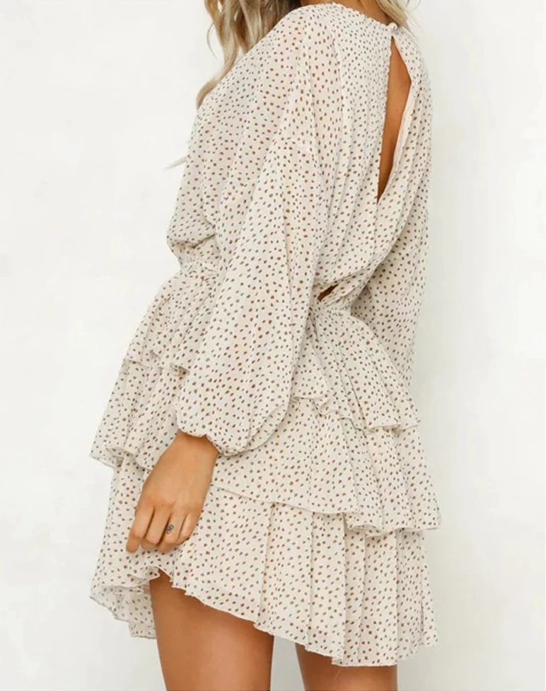 Cool Polka dot backless dress