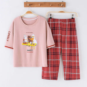 Cotton Casual Animals Print Sleepwear Sets