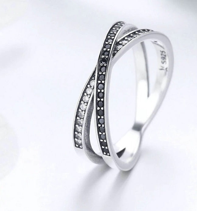 Cross Geometric Black & Clear CZ Finger Ring