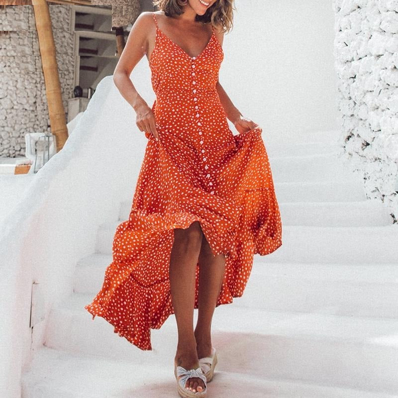 Elegant Polka dot boho midi summer dress